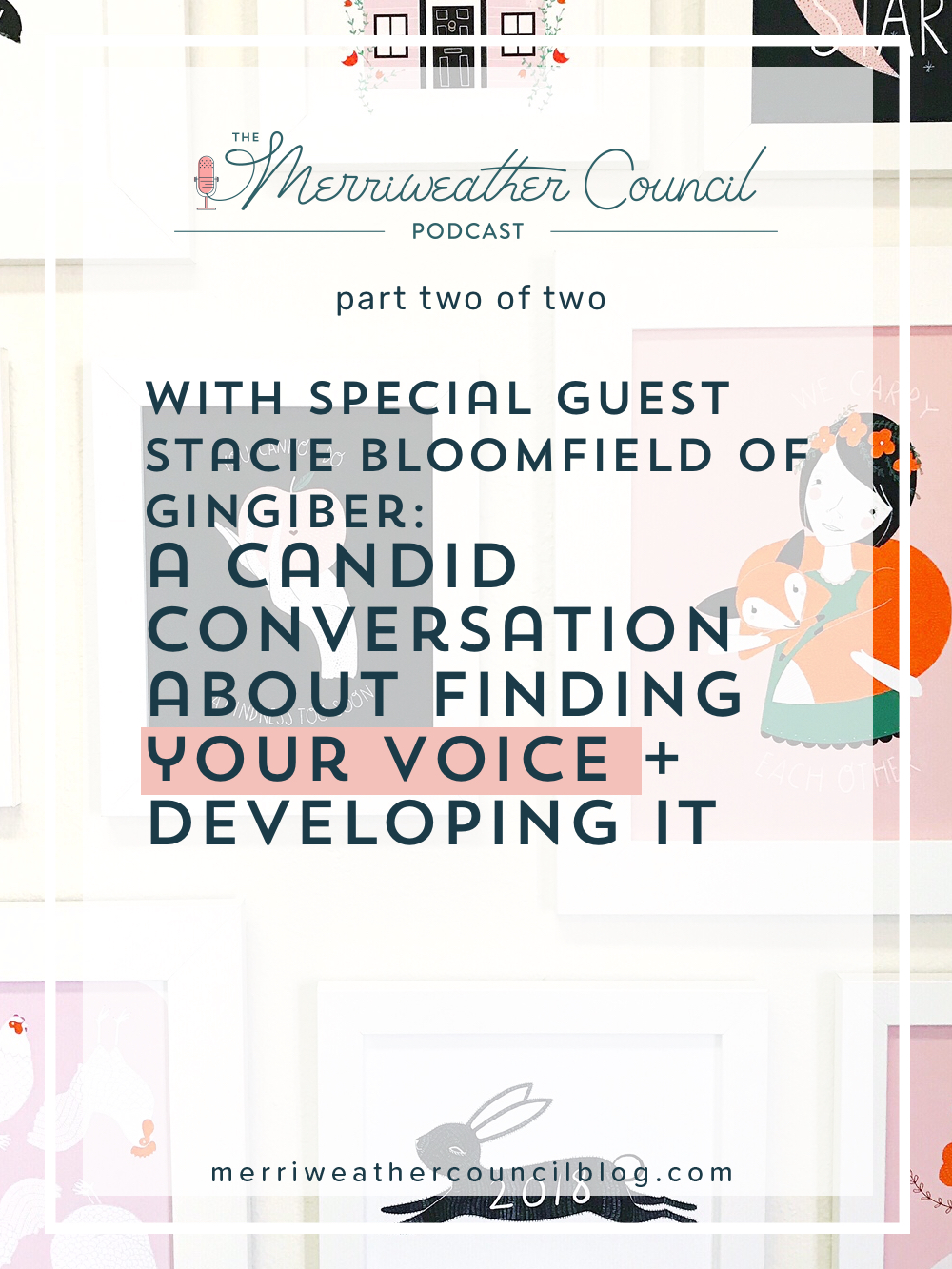 In this episode Stacie and I speak about finding your voice as a creative person. We also chat about her struggles with moving into a new product line, creating a brand and sticking it out through the hard times. Of course we also spoke about the struggle of comparison as well! | The Merriweather Council Blog